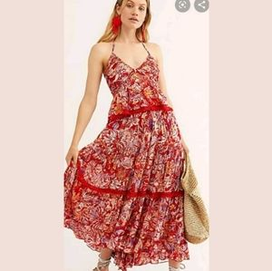 Free People Kahlo Floral Tropical  Maxi Skirt Set